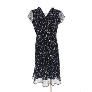 Vintage 90s silk floral ruffle dress black 10
